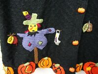 vintage Halloween ghost cardigan costume jumper cotton ramie hand embroidered L