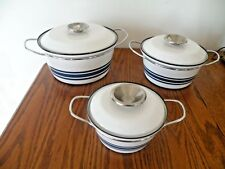 Rare Cathrineholm Enamelware BLUE Ribbon COOKWARE 3 PIECE SET Mid Century Modern