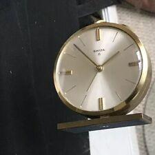 Vintage Swiza 8 Swiss Made Alarm Desk Clock Manual Hand Winding Round