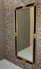 Prunk Spiegel Schwarz-Gold Wandspiegel Vintage 129x69 cm