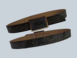 AC/Dc Belt Power Up Pwr Up Allover Print Angus Young Real Leather SIZE S New