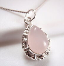 Small Rose Quartz Pendant 925 Sterling Silver Rope Style Decor on Sides New