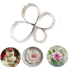 4 piezas Conjunto de azúcar Artesanales pétalo de rosa para fondant para decoración de pasteles cortador de boda