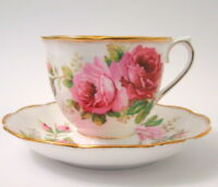 Royal Albert Footed Tea Cup & Saucer American Beauty Pink Rose Flowers Gold Trim