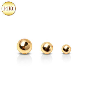 14Kt Solid Yellow Gold Replacement Balls Spare Parts for Body Piercing Jewellery