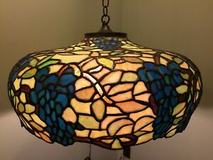 Leaded Arts Crafts Mission Antique Slag Glass Lamp Bradley Hubbard Handel era