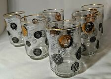 Libbey 1957 Old Coins Barware Black & Gold Etched White LNC