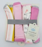 Cloud Island Baby Burp Drool Cloths 4 Pack Pink White Gray Stripes Unicorn New