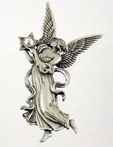 JJ Jonette Jewelry Winged Fairy Fairie Angel with Orb Brooch Pin Vintage 1980s
