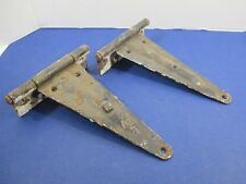 Antique Matched Pair Gate Barn Door Hinges Great Patina Rustic Heavy VS22/H5