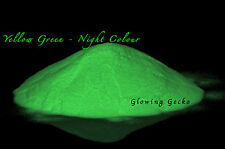 Premium Glow in the Dark pigment powder 10grams Fine Particle Size. Yellow Green