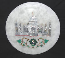 "8"" Marble Floral Plate Taj Mahal Marquetry Malachite Inlay Art Beautiful Decor"