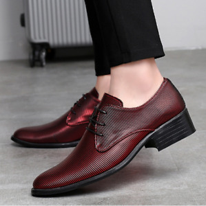 Mens Casual Round Toe Flat Heels  Blend Leather Business Lace Up Dress Shoes