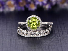 1Ct Round Peridot Green Simlnt Diamond Engagement Set Ring White Gold Fns Silver