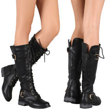 New Women Black Round Toe Lace Up Knee High Military Combat Boot Lug Sole Zipper