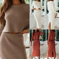 Women Leisure Long Sleeves Sweater Pullover Knitting High Waist Skirt 2 PCS SET