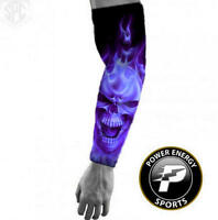 Titanium Baseball Sports Compression Arm Sleeve (Purple Flame Ghost Skull)