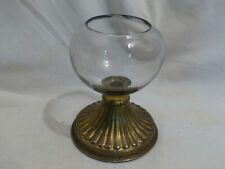 """lampe a huile pour veilleuse ancienne """"signé dessous """" verre et metal 19eme"""