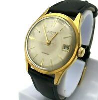 Gold Plated VOSTOK Watch Date Russia USSR Luxury Retro Style Serviced Original