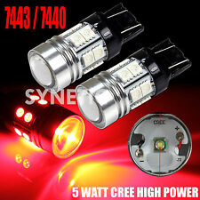2x 7443 High Power CREE Q5+SMD Red Brake Tail Stop LED Light Bulbs Projector