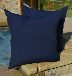 """Set of 2 ~ 20"""" Square Solid Navy Blue Indoor / Outdoor Decorative Pillows"""