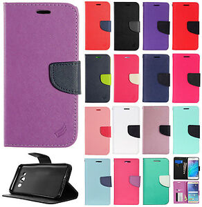For Samsung Galaxy J7 Leather 2 Tone Wallet Case Pouch Flip Cover + Screen Guard
