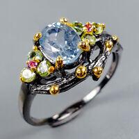 Blue Topaz Ring Silver 925 Sterling Handmade7x5mm Size 7.25 /R129308