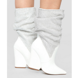 Liliana SACAI-7 White Faux Leather Silver Chainmail Pointy Toe Slouch Wedge Boot