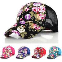 Women Floral Baseball Cap Hip-Hop Snapback Peaked Mesh Sun Visor Hats Adjustable