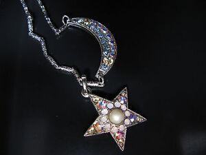 MARIANA STAR MOON NECKLACE PENDANT SWAROVSKI CRYSTALS CHAIN Gift