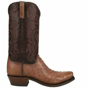 Lucchese Dante Ostrich Snip Toe   Mens  Dress Boots   Mid Calf  - Brown