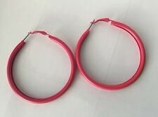 Hot Pink Earring 1980's Retro Bright Funky Ladies & Girl Party Earrings