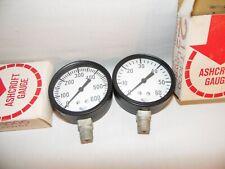 Set Of 2 Vintage Ashcroft Gauges 2 12 T 1000 Lower 14 Npt 600 Psi 60 Psi