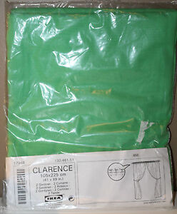 """IKEA Clarence Green Curtain Panels Twin Pack 41"""" x 89"""" 130.461.51 to Tie-On Rod"""