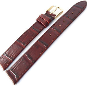 16mm APOLLO 12.123 BROWN ALLIGATOR GRAIN SOFT LEATHER WATCH STRAP WITH PINS GOLD