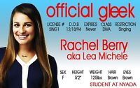 GLEE tv series RACHEL  plastic collector card Drivers License