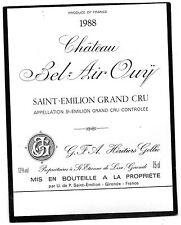 SAINT EMILION GC ETIQUETTE CHATEAU BEL AIR OUY 1988 75 CL §19/03/16§