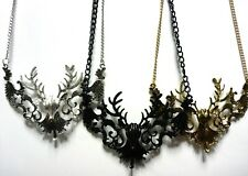 Deer Head Antlers Stag Goth Vamp punk Choker Statement Necklace Pendant & Chain