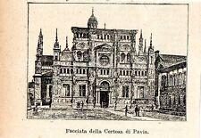 Stampa antica CERTOSA di PAVIA veduta in miniatura 1905 Old print