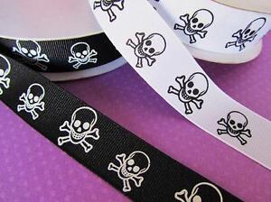 """25 yards Spool Gothic Skull Halloween Grosgrain 7/8"""" Ribbon/Craft R65-78-Roll"""