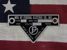 Federal Electric Co. Older Federal Siren Models W / WL Replacement Badge 6 Volt