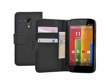 Black Wallet Leather Flip Case Cover Pouch for Motorola Moto G / XT1032