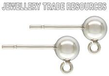 Sterling silver earring ear post 5mm Perles & ring compte-gouttes ball crampons