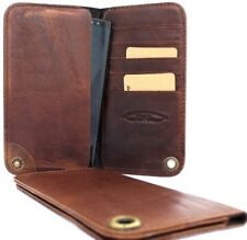 genuine leather Case for iphone 6 plus 7 plus book wallet cover cards brown + uk