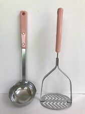 Vintage 1950's Ekco Forge Stainless Steel USA Pink Handle Potato Masher & Ladle