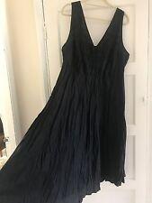 Monsoon women's long black sleeveless linen summer dress size 22 BNWT