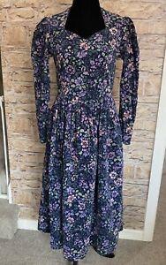 Vintage 80s LAURA ASHLEY Needlecord Floral Dress Made GB Prairie Cottagecore. 10