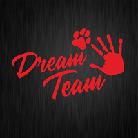 Dream Team Hundesport Agility Pfote Dog Rot Auto Vinyl Decal Sticker Aufkleber