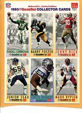 Set (3) NFL 1993 McDonalds GameDay Football Card Uncut Sheet AFC NFC SUPER BOWL