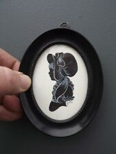 Phyllis Arnold OvalFramed Signed Hand Drawn Painted Silhouette Victorian Costume